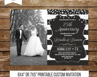 25 wedding anniversary invitation silver anniversary party 25th anniversary silver wedding celebration surprise party invite printable 239