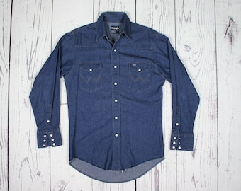 Men's S Tall | Vintage WRANGLER Blue Denim Pearl Snap Button Front Western Shirt