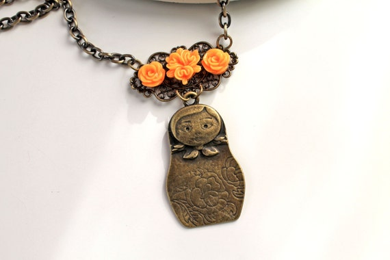 Babushka necklace original choker cute flower lolita statement