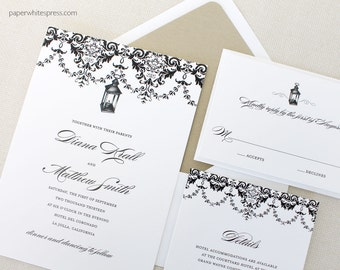 Lantern Wedding Invitations, Vintage Wedding Invitations, Black Lantern Wedding Invitations, Classic Wedding Invitations, Outdoor Wedding