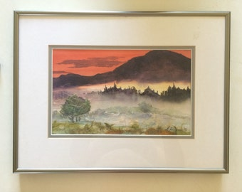Beautiful, unique, vintage watercolor painting, art collage, made, signed by S. Hellman