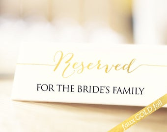 Printable Reserved Wedding Signs, Faux Gold Foil Effect Reserved Table Signs, Wedding Reception Signs, PDF Instant Download