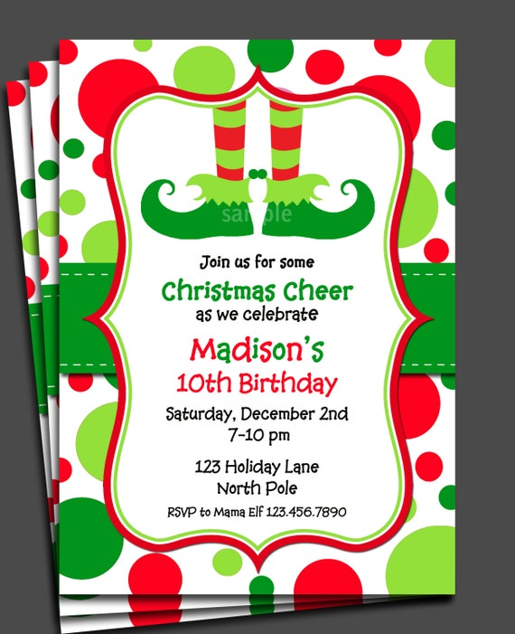 items similar to christmas elf invitation printable or printed with free shipping