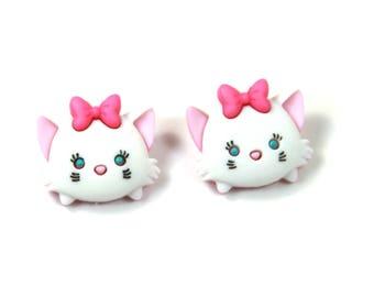 Marie Aristocats earrings, Tsum Tsum earrings, Marie Aristocats studs, Pink cat earrings, Cat studs