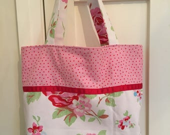 Cath Kidston fabric bag, floral tote, spotty bag, shopping bag, tote bag, everyday bag, vintage fabric, gift for women, birthday gift, bag