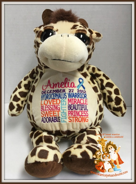 Hydrocephalus Warrior, Giraffe Warrior Pet, personalized, stuffed animal, warrior pet