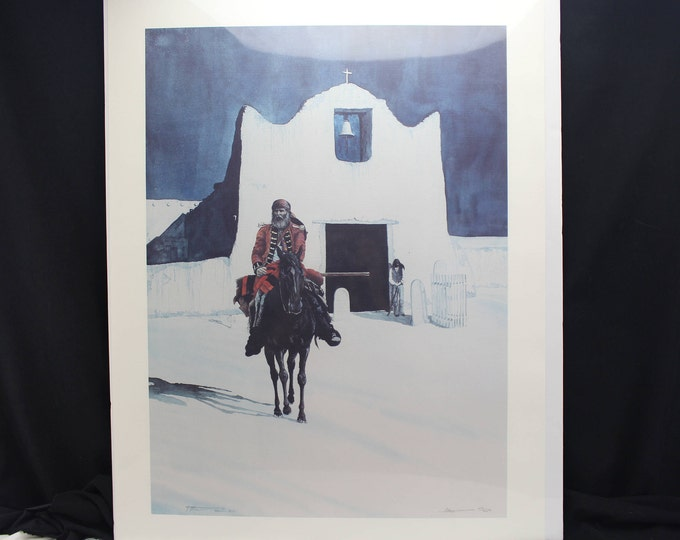 Fine Art Limited Number Signed Print Southwest Mexico, Church, Solider, Ted Moews #28/250