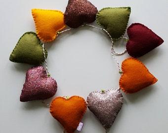 Heart garland- autumn hearts-hearts- wall decor-winter garland