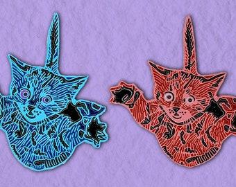 Falling Cats Pink + Blue | Cat Lover Enamel Pin Pack | Cute Enamel Pin Kitten Enamel Pin | Soft Enamel Pin Set Backpack Pin Kitten Pin