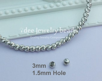 3mm Italy diamond cut beads, Solid 925 Sterling Silver with Rhodium plated for Anti Tarnish. F35A
