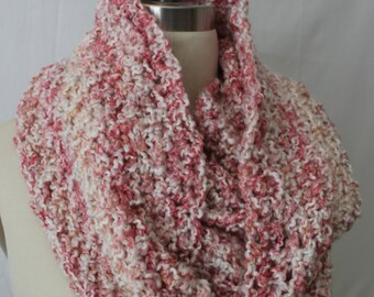 Extra large infinity scarf, tube cowl, knitted infinity scarf, snood in cotton candy pink