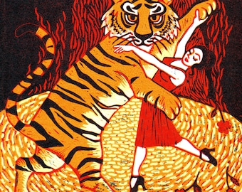"""Greetings card: """"Tiger Argentina"""", for those who love tigers and love to tango! By Laura Robertson"""