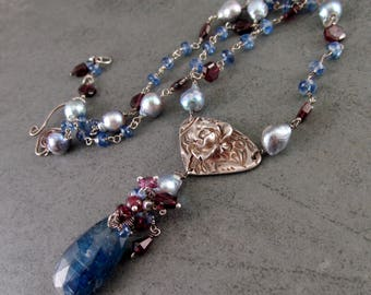 Kyanite rose necklace, handmade recycled fine silver necklace with garnet and silver blue saltwater Akoya pearls-OOAK Yankee Rose necklace