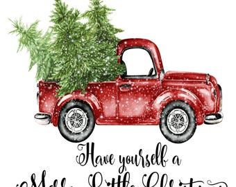 Merry Christmas Tree Truck Holiday Iron On Ready To Press Transfer Design