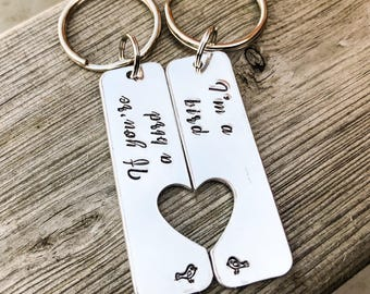 Hand stamped personalised keyrings, 'If you're a bird, i'm a bird' gift, his and hers keyrings, couple keyrings, gift for him, gift for her