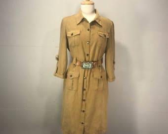 shirt dress ultra suede  dress tan western velour safarie resort boho dress rivit buttons