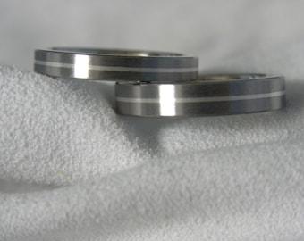 Matching Ring SET, Titanium Silver Pinstripe Inlay Wedding Bands, Satin Finish