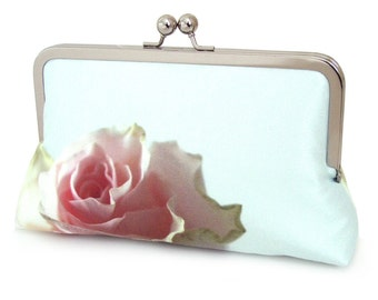 Pink rose clutch bag, silk purse, rose petals, wedding purse, flower clutch, bridesmaid gift, MINT ROSE