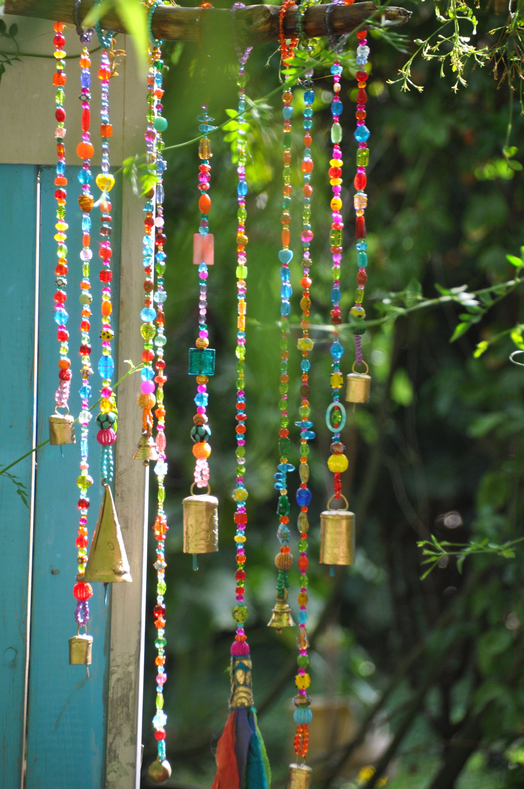 Wind chime-beaded mobile with Brass bells-sun catcher-Bohemian