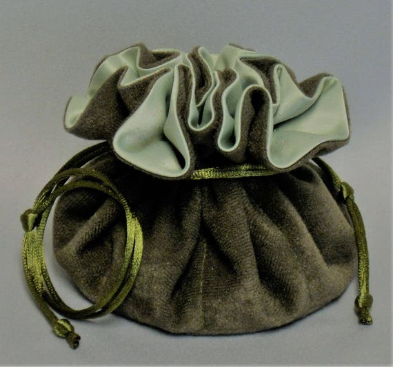 Jewelry Travel Tote---Drawstring Organizer Pouch---Olive Green Soft Suedecloth with Sparkle Satin---Regular Size