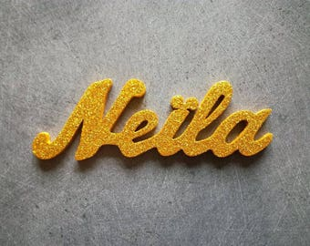 Name to choose from 4 to 5 letters painted gold sequined wooden