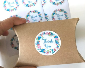 12  thank you stickers - floral thank you label - wedding favor sticker - wedding favors flower labels - envelope seals - gift wrapping