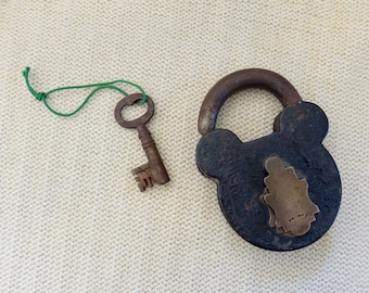 Antique VicRail Railway Iron Padlock with Key