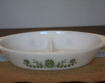 Glasbake J2352 Divided Casserole with green flower design