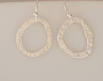 Tiny Textured Sterling Silver Hoop Earrings