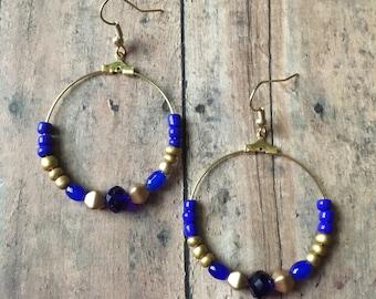 Navy and gold beaded hoop earrings