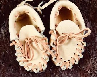 Handmade deer skin baby moccasins