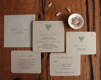 Rustic Green Love Heart on Recycled Kraft Card Printed Wedding Invitation Set