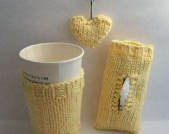 Coffee Cozy Pocket Tissue Cover Heart Keychain Handknit Cotton 3 Piece Gift Set Yellow Gift under 30.00