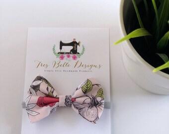 Light Pink Floral Fabric Bow w| Nylon Headband
