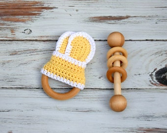 Wooden Teether , Wooden Baby Toy , Montessori Baby Toy , Baby Gift Set , Baby Teething Toy , Crochet Teether , Wooden Rattle , Teething Ring