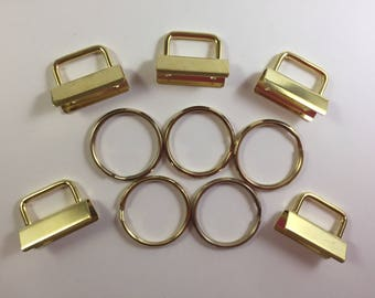 """Gold - Key Fob Hardware - 1 1/4"""" - Set of 5 - Key Ring - Make Your Own Key Fobs - Gold Plated - Trendy Gift Giving"""