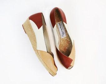 Vintage Three-Tone Leather Platform Peep Toe Wedge size 7.5 N