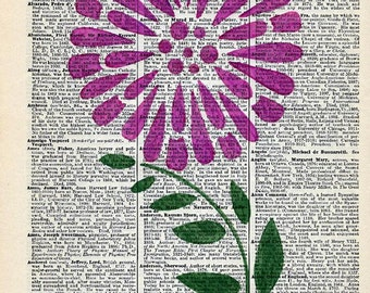 Vintage Dictionary Page With Handpainted Purple Flower - Dictionary Art - Encyclopedia Art