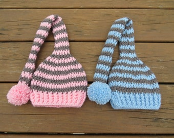Twin Set Baby Elf Hat, Crochet Long Tail Elf Hat, Newborn Elf Hat, Infant Elf Hat, Toddler Elf Hat, Handmade Hat, Made to Order Hat