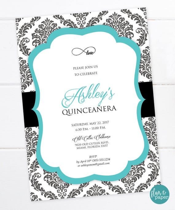 Black And Teal Invitation Quinceañera Birthday Sweet