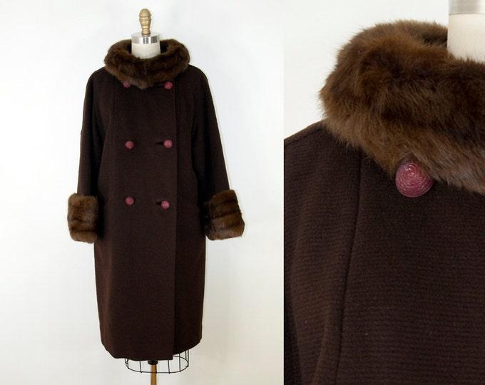50s Vintage Brown Wool and Fur Coat (M, L)
