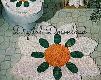 Sunflower Bathroom Rug Set, Crochet Pattern, Seat Cover, Tissue Cover, Kitchen Rug, Vintage, PDF Instant, Digital Download