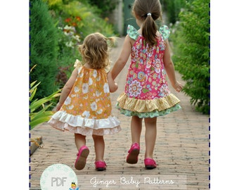 Country Rose Flutter Dress PDF Sewing Pattern - Baby, Toddler, Girls, Sizes 0-3, 3-6, 12m, 18m, 2, 3, 4, 5, 6, 7, 8