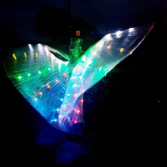Rainbow LED Light Up Transparent Shiny Hologram Pleated Festival Dance Party Raver Carnival Butterfly Angel Fairy Wings Cape Large UK Seller Xi5b9U