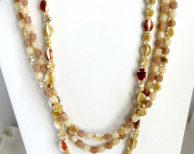Vintage Glass Necklace, Brown Bead Necklace, Triple Strand Necklace, Cream Beaded Island Jewelry, Gift For Her