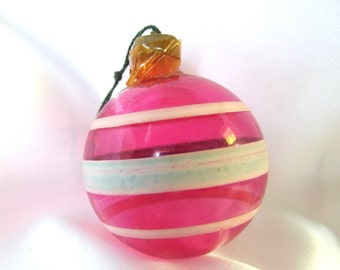 Vintage Christmas Ornament - Unsilvered Hot Pink WWII Ornament
