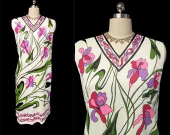 Vintage Serbin of Florida Designed by Muriel Ryan Screen Print Iris Dress designer dress screen print dress 60s dress floral dress summer