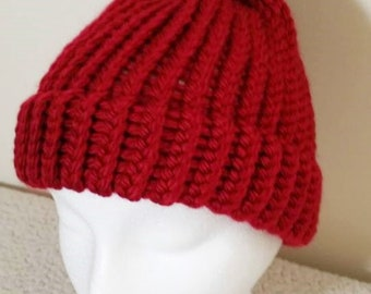 Red apple knit hat, Loom Knitted, Red apple beanie with pom pom, Red apple winter hat, Red apple warm hat, Adults/women