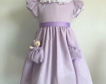 Sweet Lilac Swiss Dot Dress size 3T with a Pocket Kitty