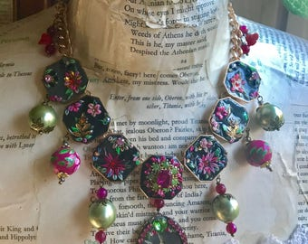Lilygrace Floral and Bird Cameo Statement Necklace with Coral Flowers, Glass Pearls and Agate Beads